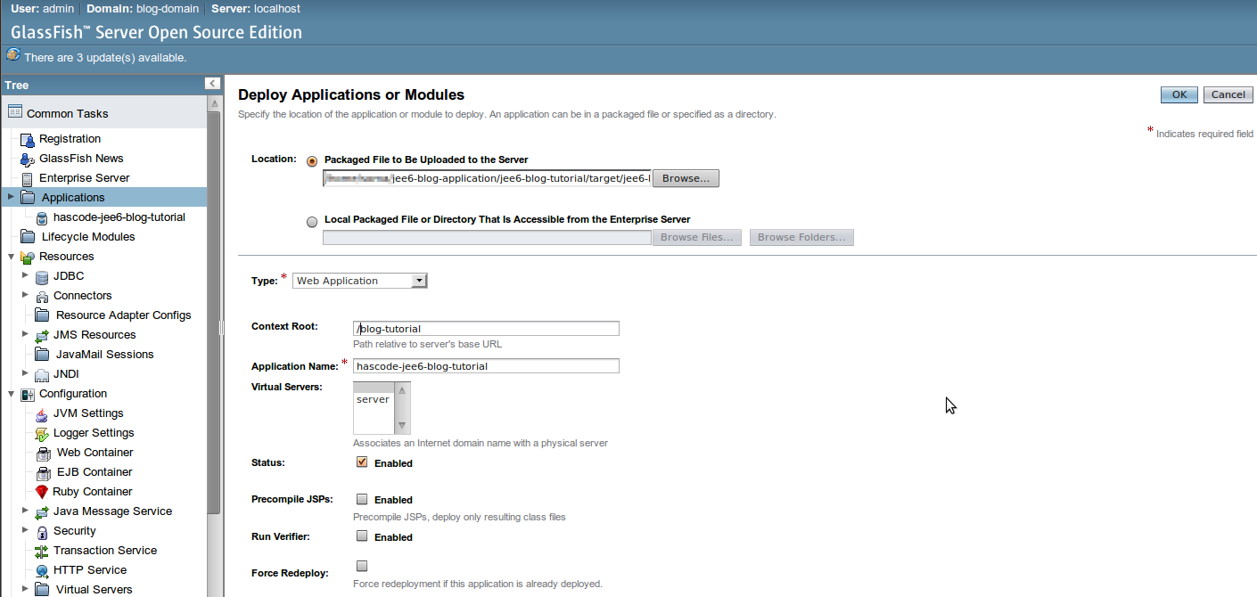 Hascode blog archive creating a sample java ee 6 blog glassfish application deployment step 1 baditri Images