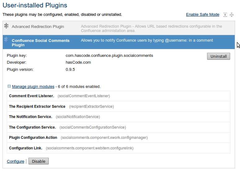 Confluence Plugin Administration