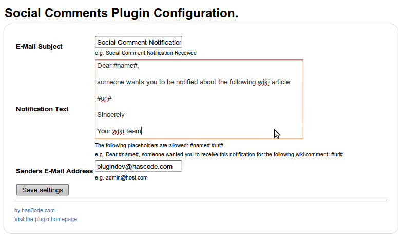 Example Template Configuration