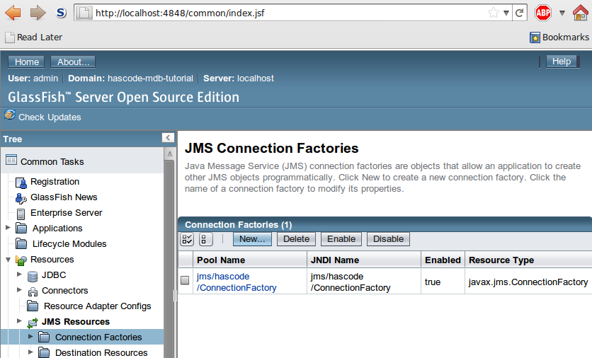 JMS Connection Factory Setting in GlassFish's Web Administration Console