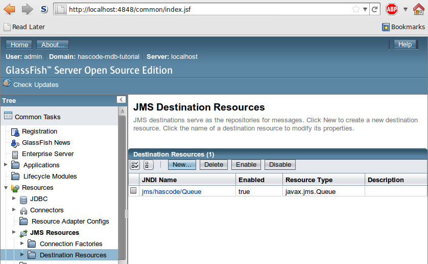 JMS Queue Setting in GlassFish's Web Administration Console