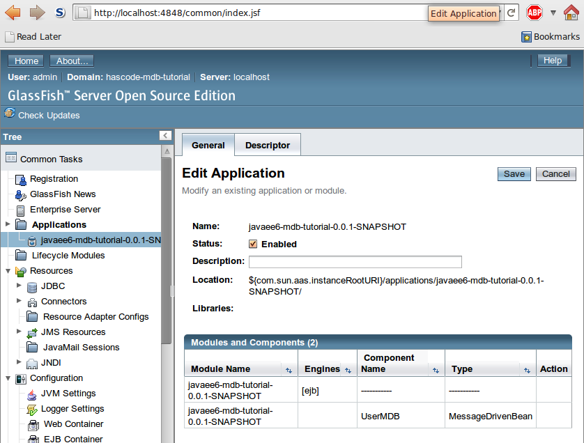 Module and Component Overview of the Application in the GlassFish Administration