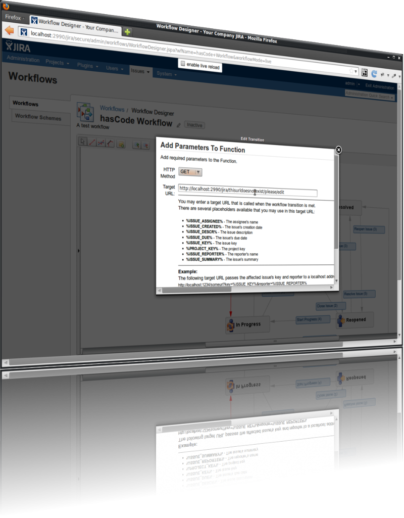 Adding the postprocessing function to a workflow transition in Jira