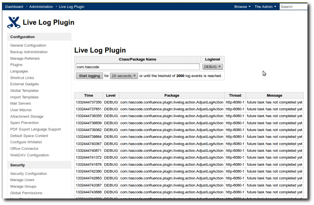 Live Log Plugin Output
