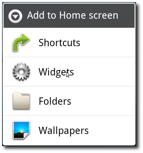 Android: Adding a new widget - Step 1