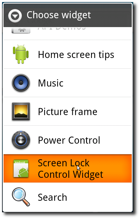 Android: Adding a new widget - Step 2