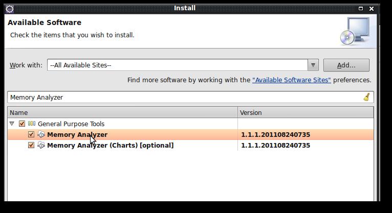 Eclipse MemoryAnalyzer Plugin Installation