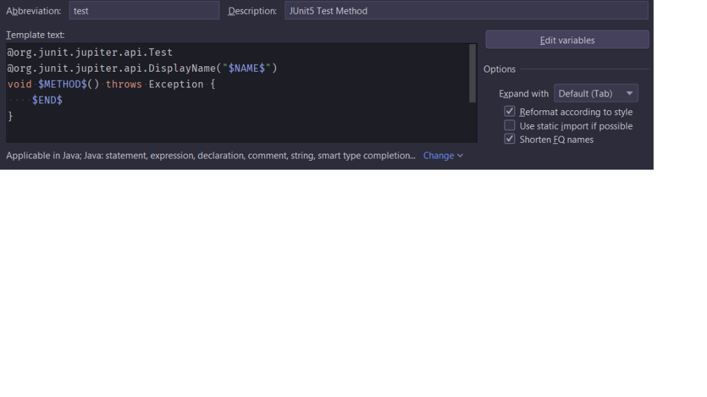 IntelliJ IDEA Live Template: JUnit 5