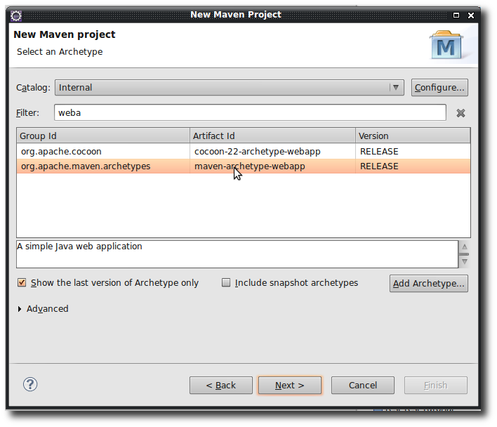 Creating a new Maven Web Application Project