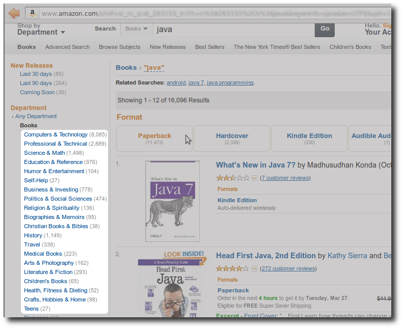Amazon.com - Group by category