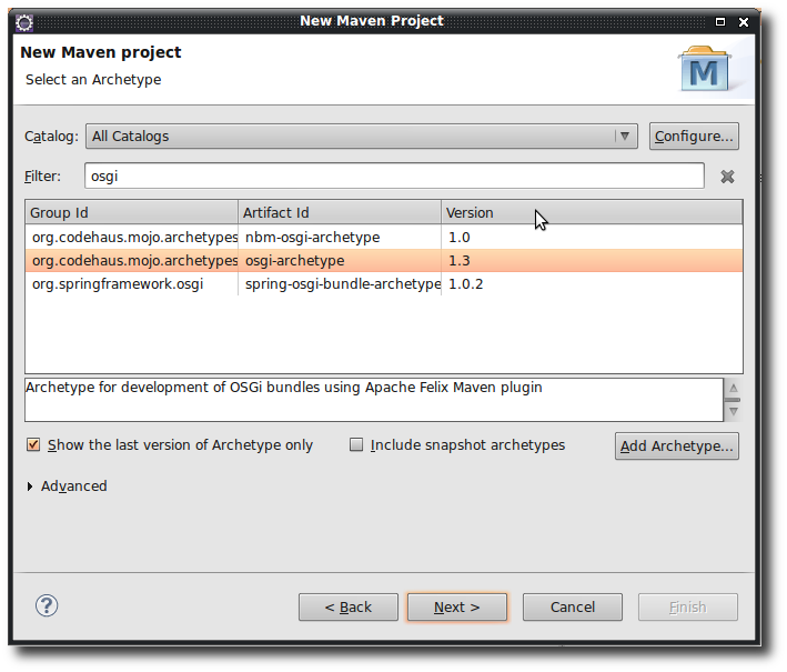 Creating a new maven project in Eclipse