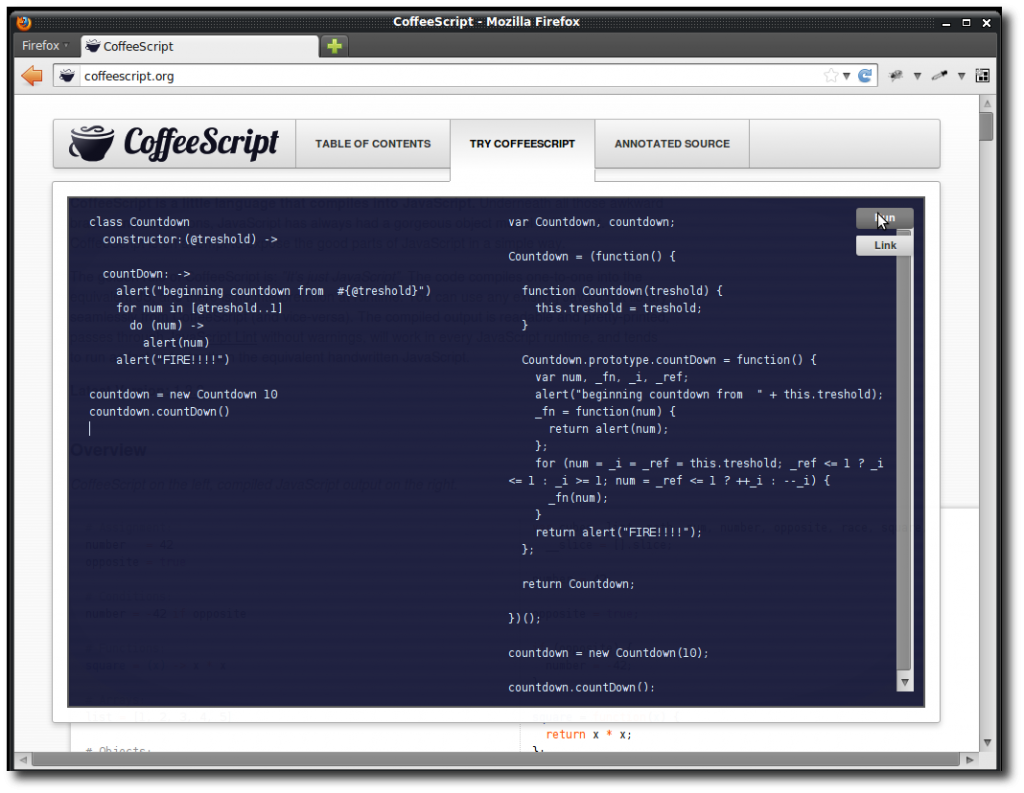 Using the online CoffeeScript emulator