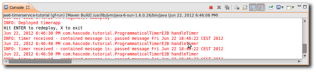 The programmatical created timer's output in Eclipse IDE