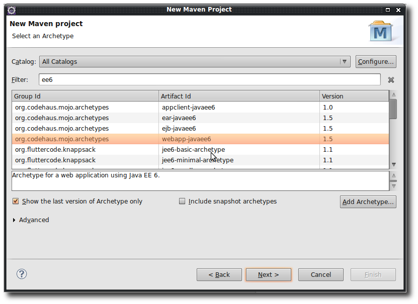 Creating a new Java EE 6 project using Maven archetypes