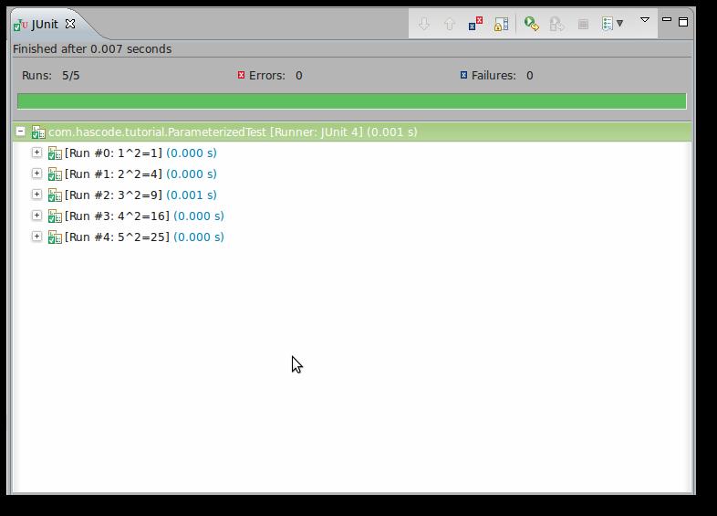 Running a parameterized test.