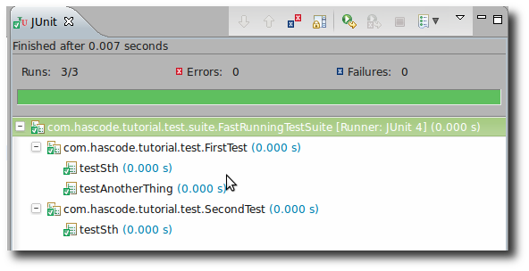 JUnit Test Suite for fast-running tests