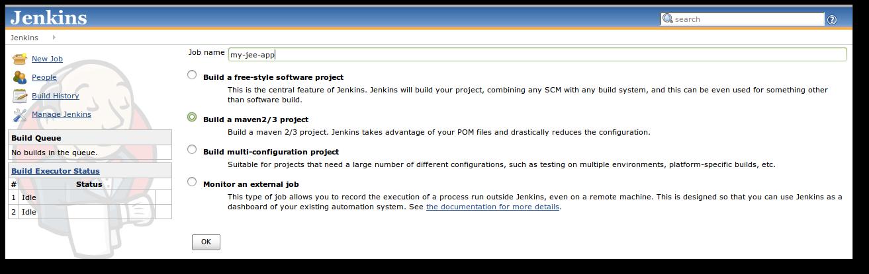 Creating a new maven 2/3 job on the integration server.