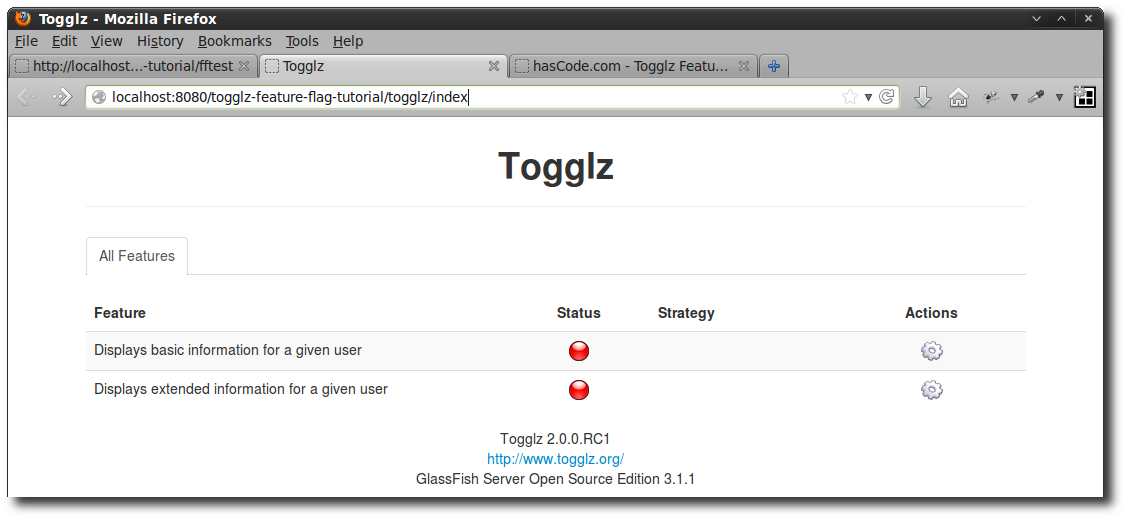Togglz Configuration Panel