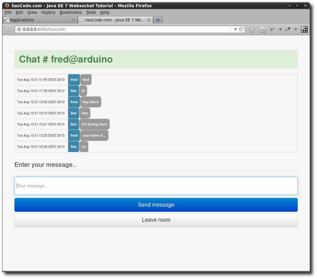 The final chat application.