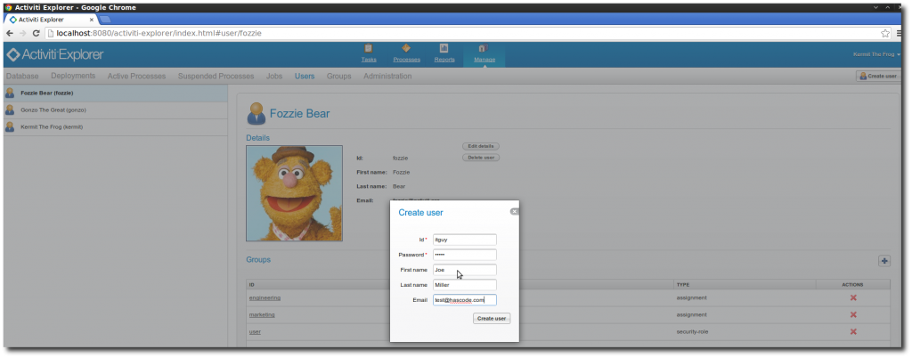 Creating a new user in the Activiti Explorer