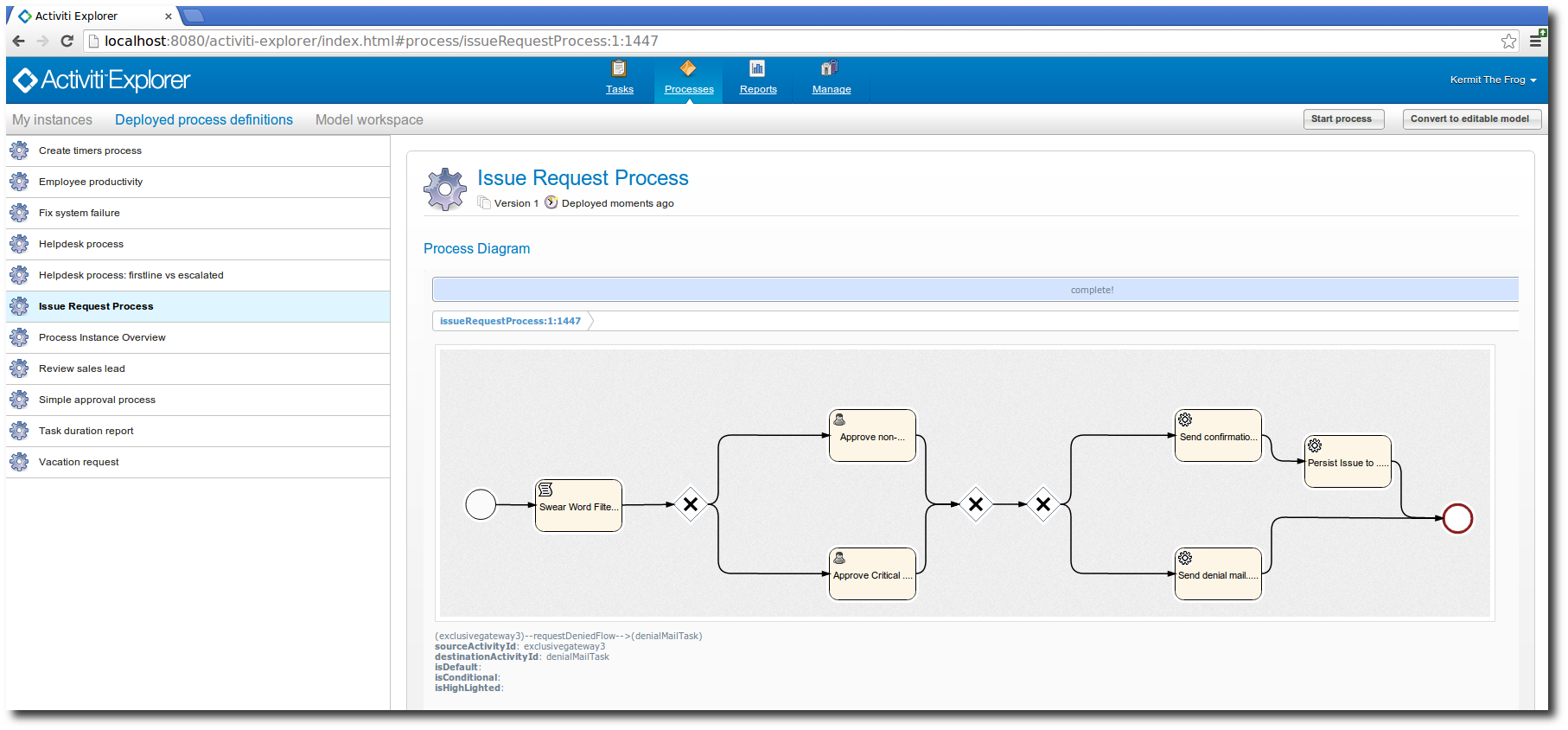 Hascode blog archive business process modeling with activiti imported process definition in the activiti explorer ccuart Images