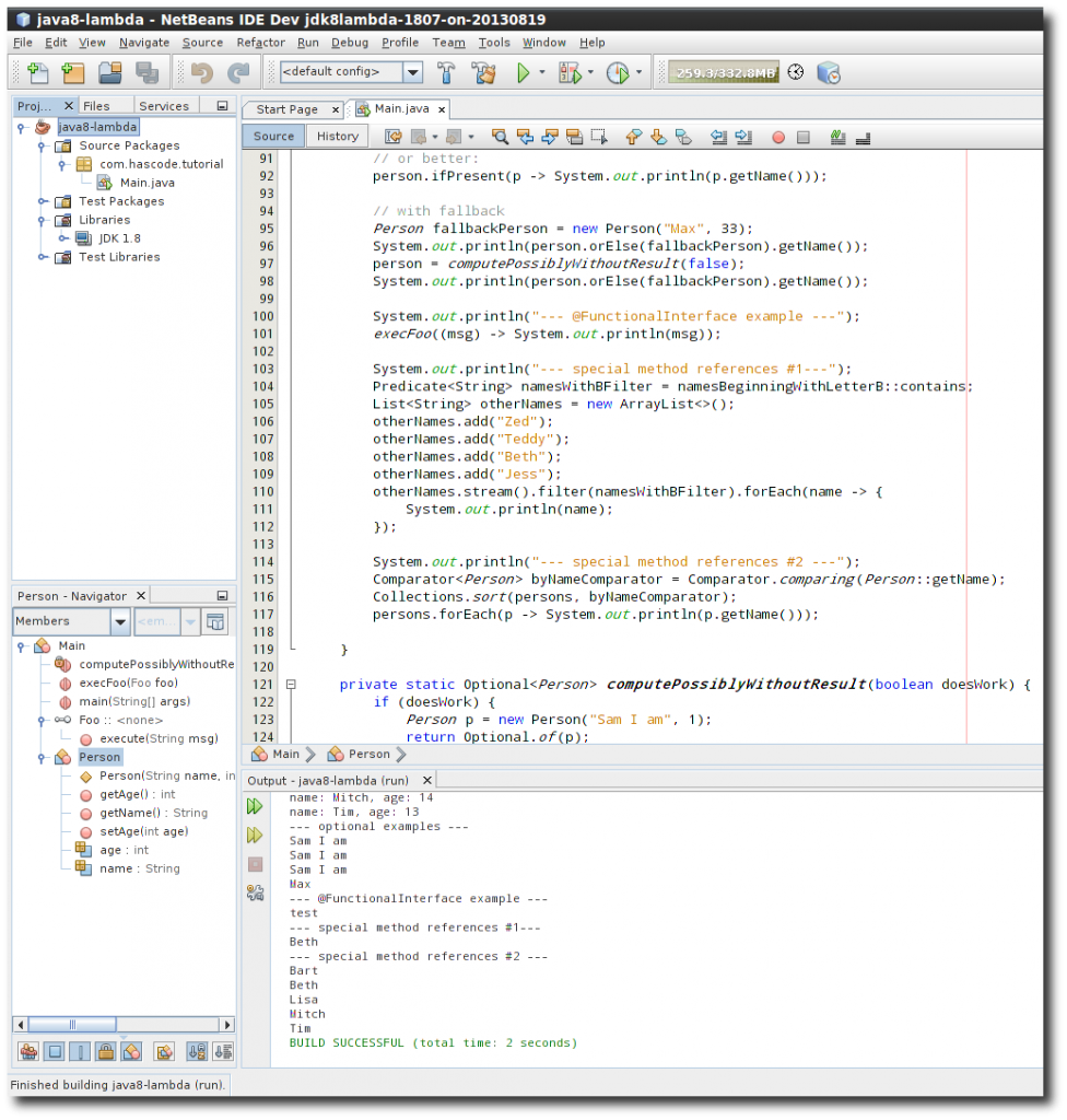 Lambda Hacking using the NetBeans Developer Version