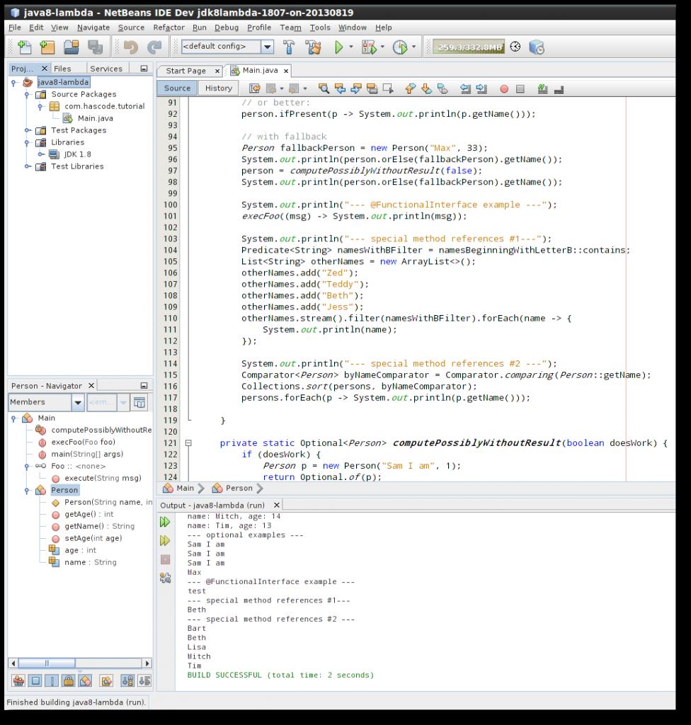 Lambda Hacking using the NetBeans Developer Version