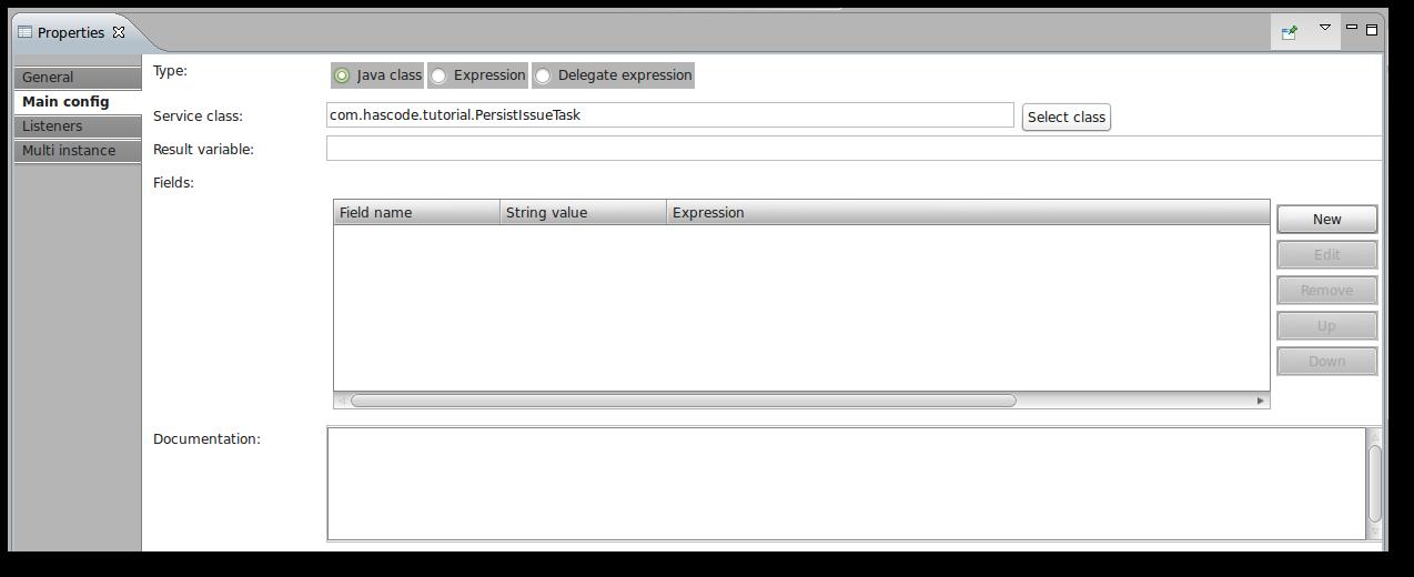 Java ServiceTask in the Activiti BPMN Designer