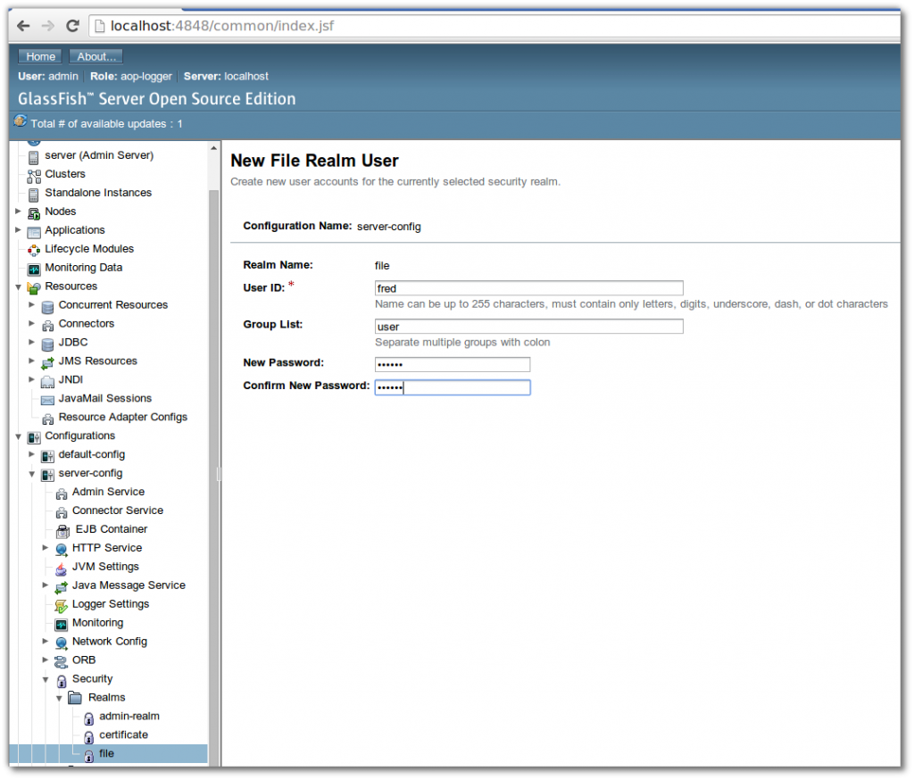GlassFish 4 File Realm User Management
