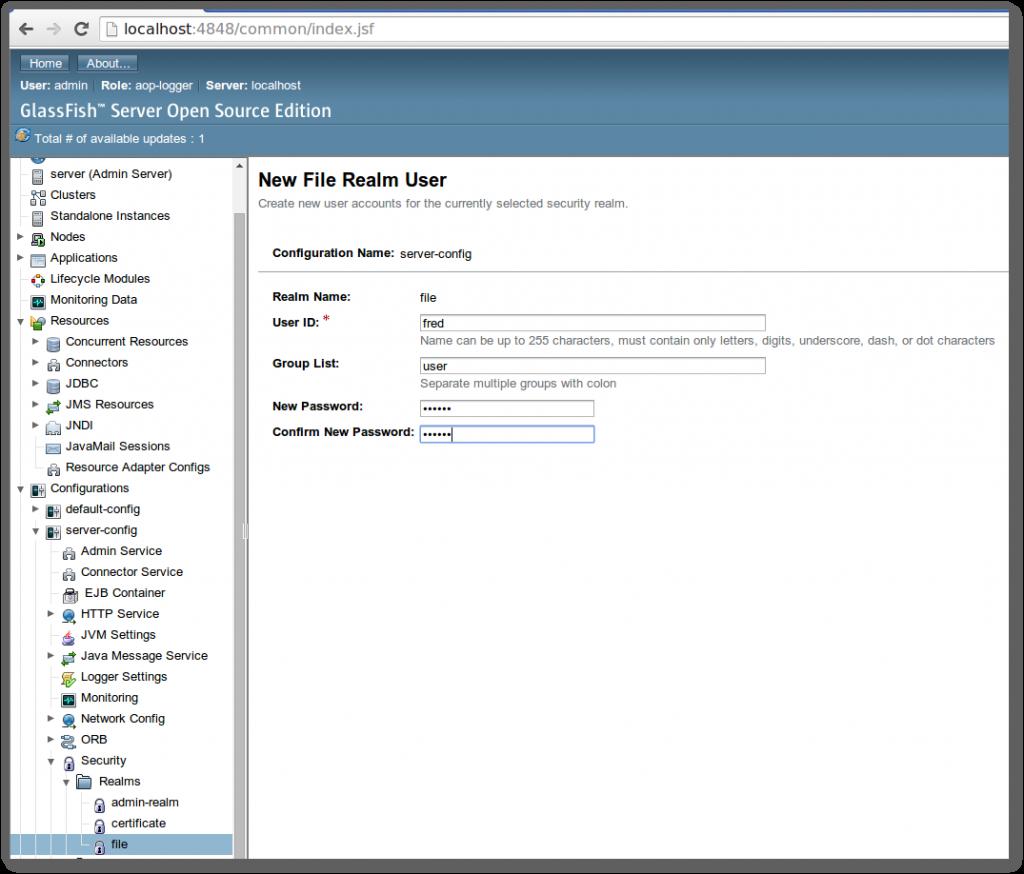 GlassFish 4 File Realm User Management