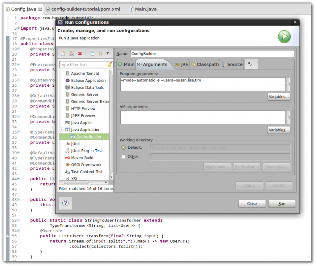 Run configuration in Eclipse IDE