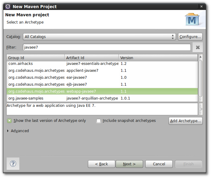 New project using the Java EE 7 Archetype