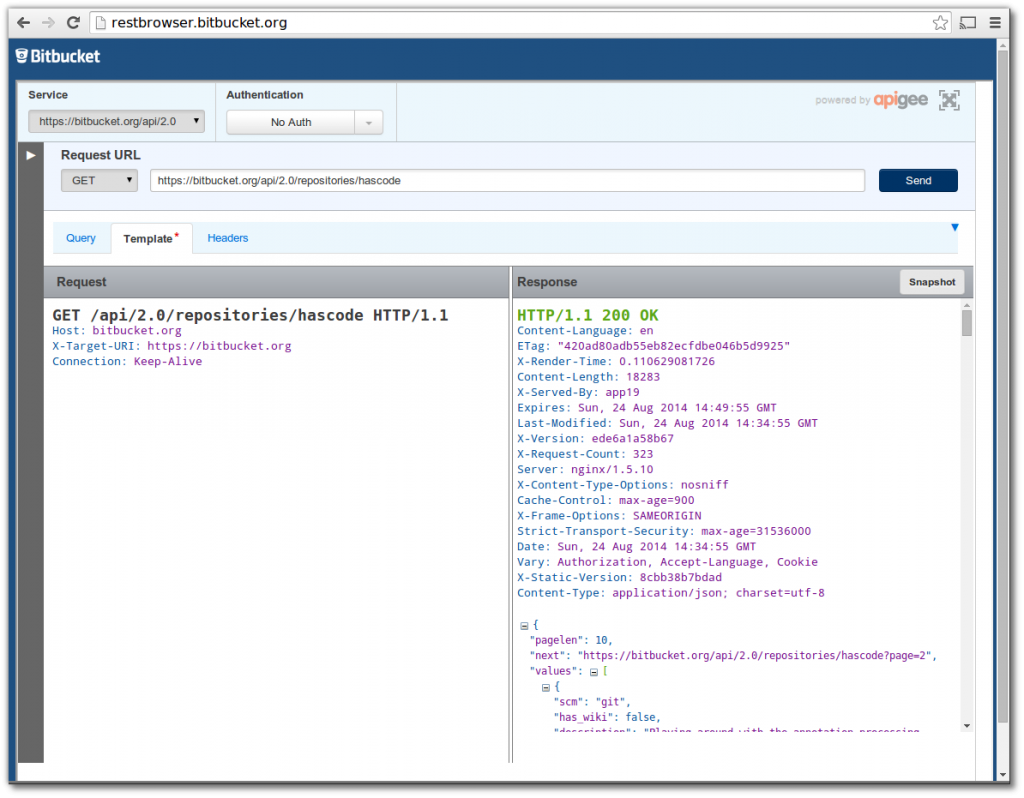 Bitbucket REST API Browser