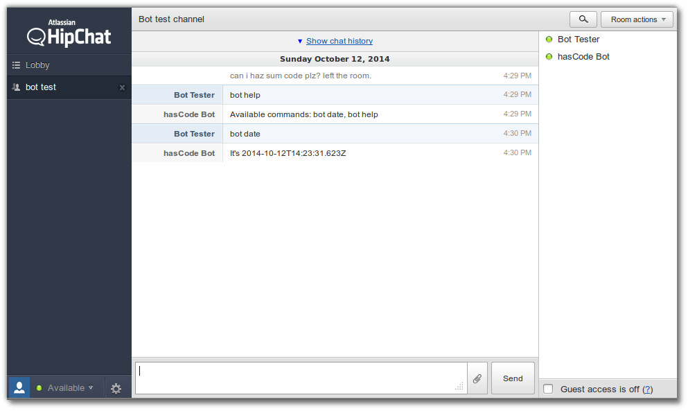 XMPP Bot connected to HipChat
