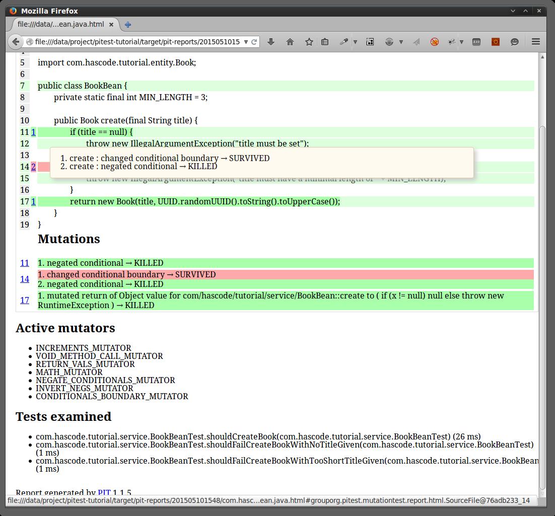 Hascode blog archive mutation testing with pitest and maven detailed mutation report for bookbean baditri Gallery