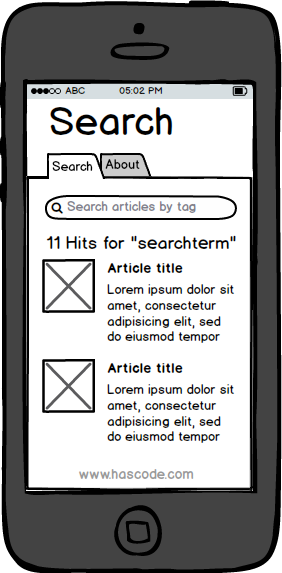 Mockup of mobile search app