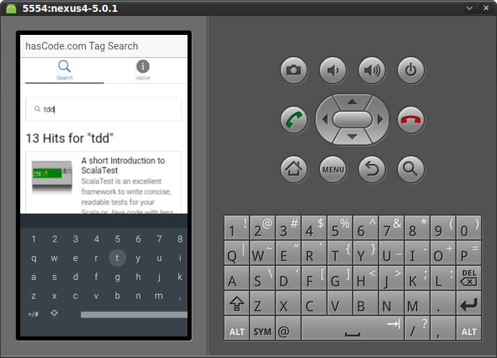 "The ""search"" view running on the Android emulator"