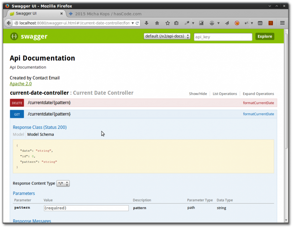 Swagger UI for Spring Boot RESTful Webservices.