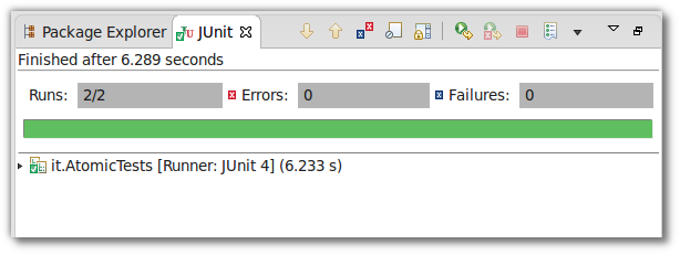 Awaitility enriched JUnit test for the Atomic enhancements running in Eclipse IDE