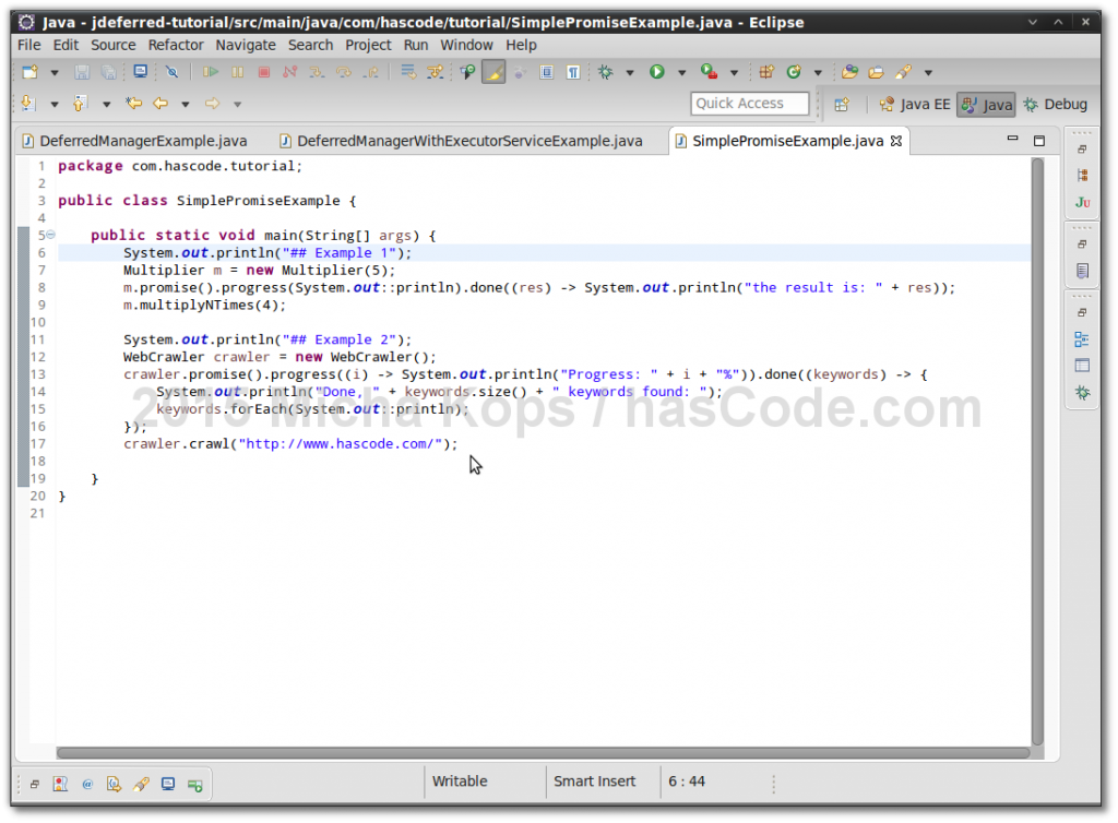 JDeferred examples running in Eclipse IDE.