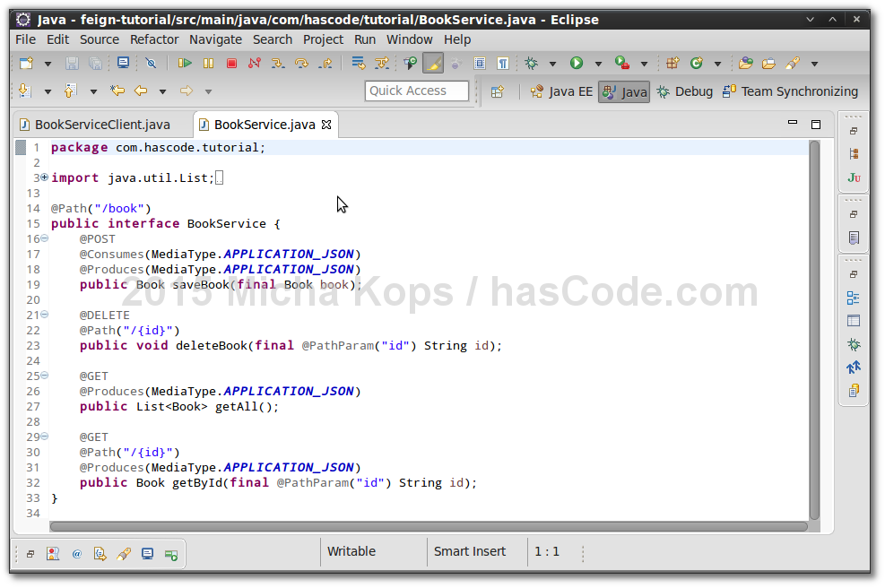 JAX RS Service Definition In Eclipse IDE