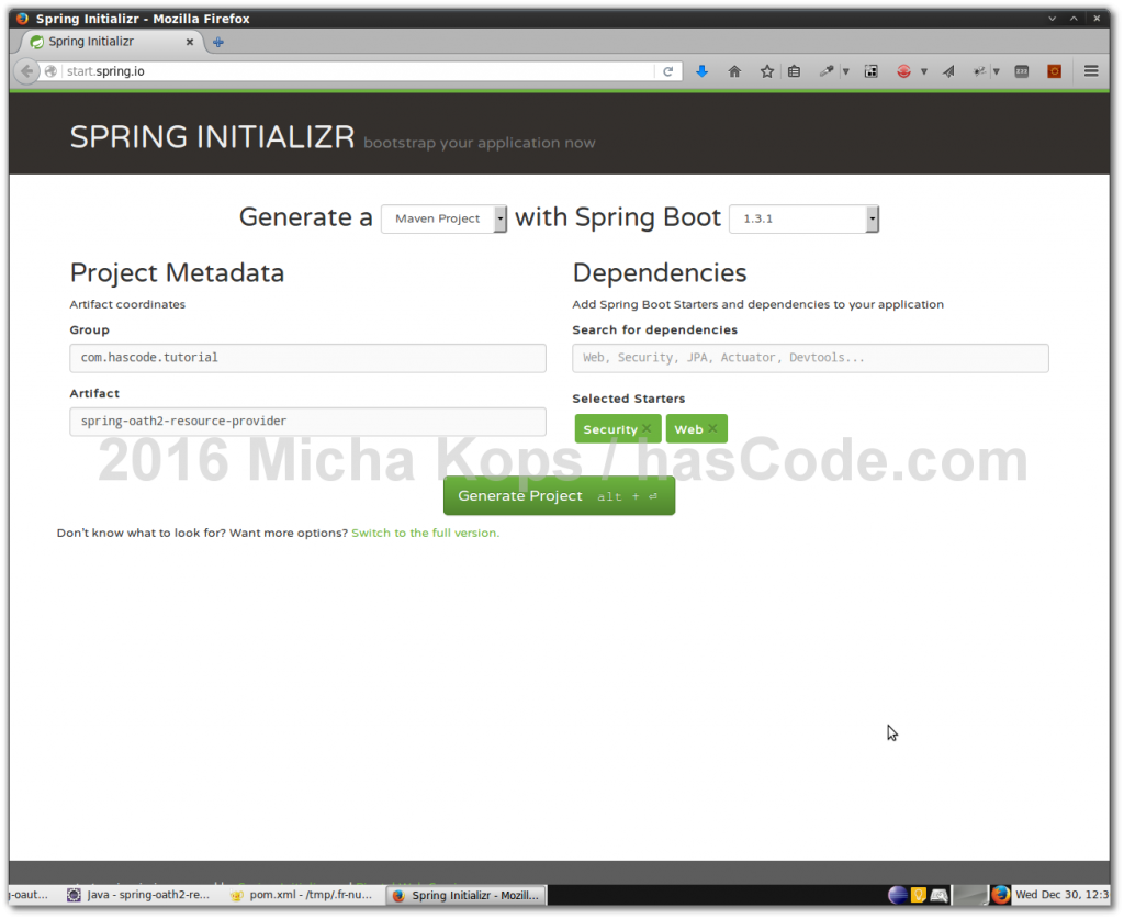 Setting up the Resource Server Project using the Spring Initializr