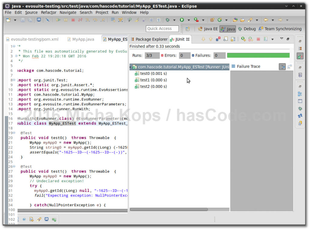 Running generated JUnit test in Eclipse IDE.