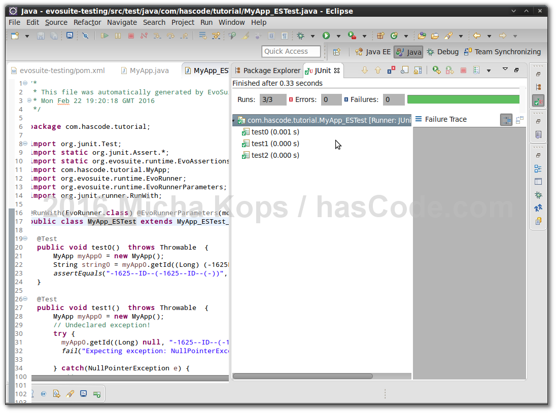 Hascode blog archive generating junit tests with java running generated junit test in eclipse ide baditri Gallery