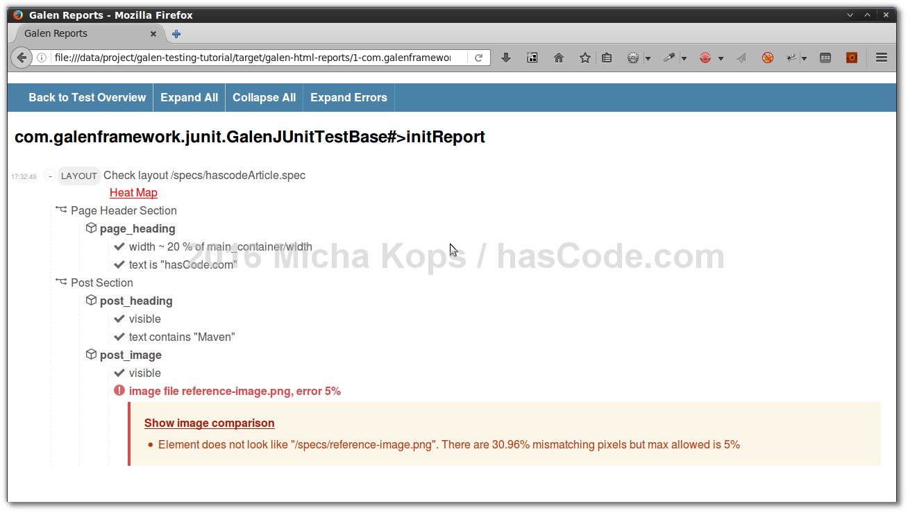hasCode com » Blog Archive » Layout Testing with Galen, JUnit and Maven