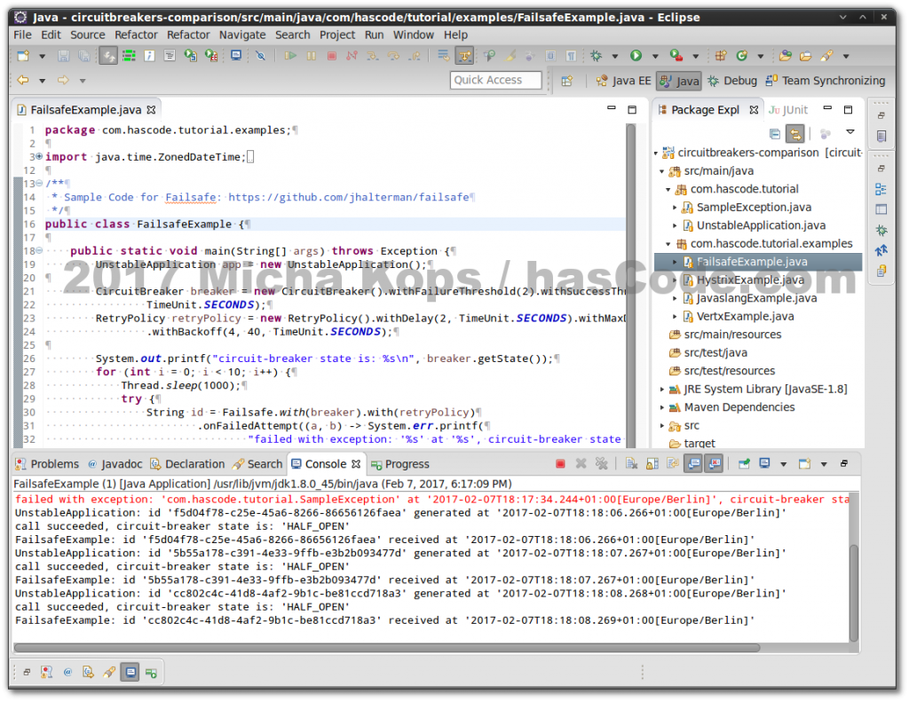 Failsafe Circuit Breaker running in Eclipse IDE
