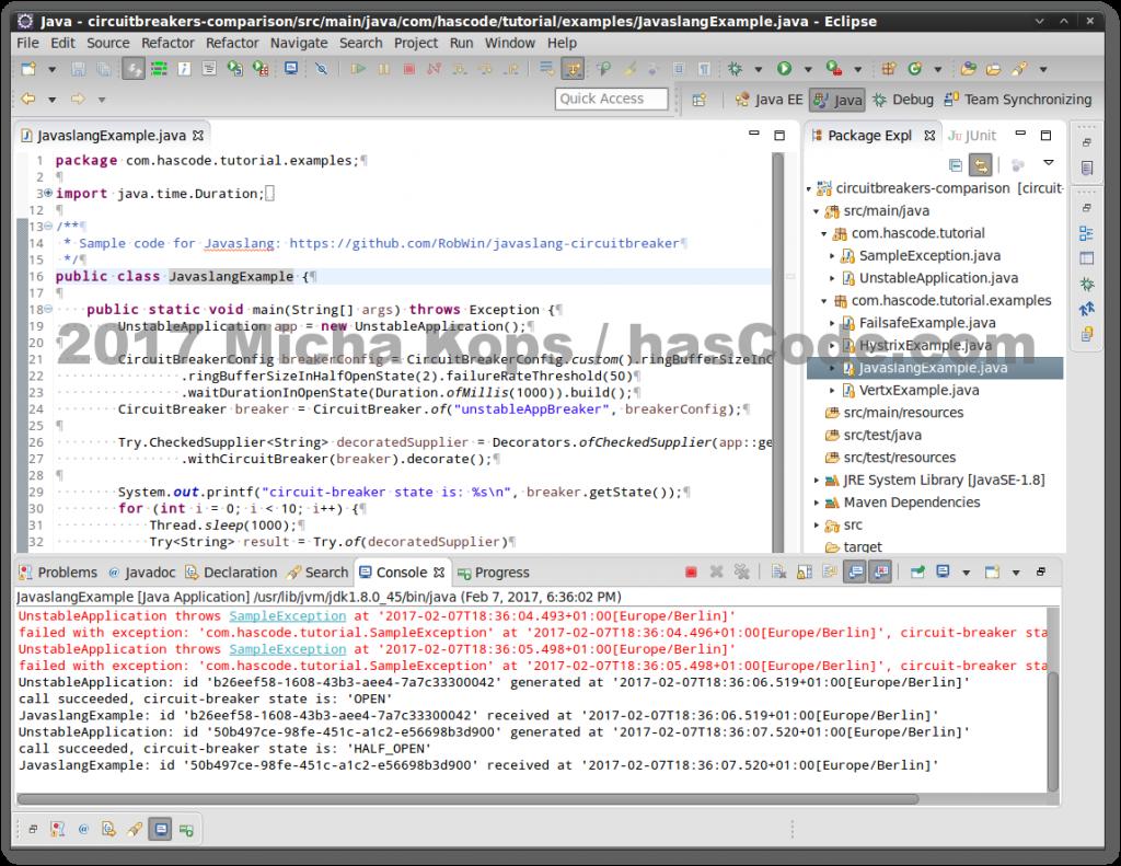 Javaslang Circuit Breaker in Eclipse IDE