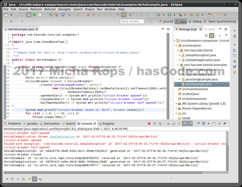 Vert.x Circuit Breaker running in Eclipse IDE