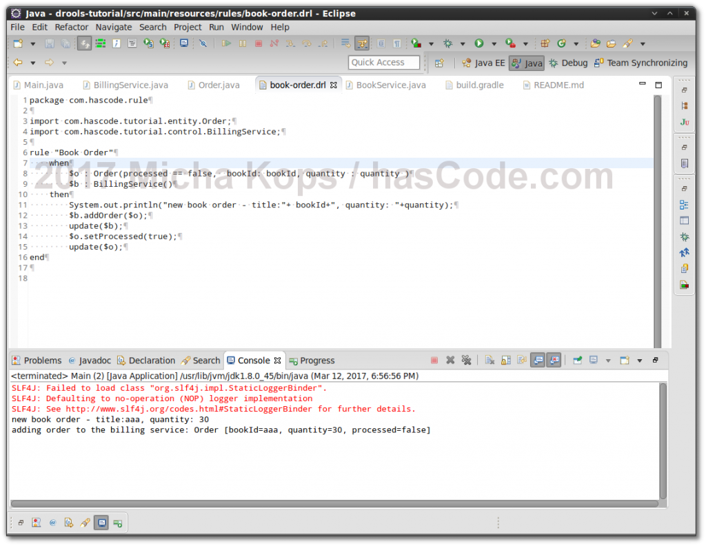 Drools Example running in Eclipse IDE