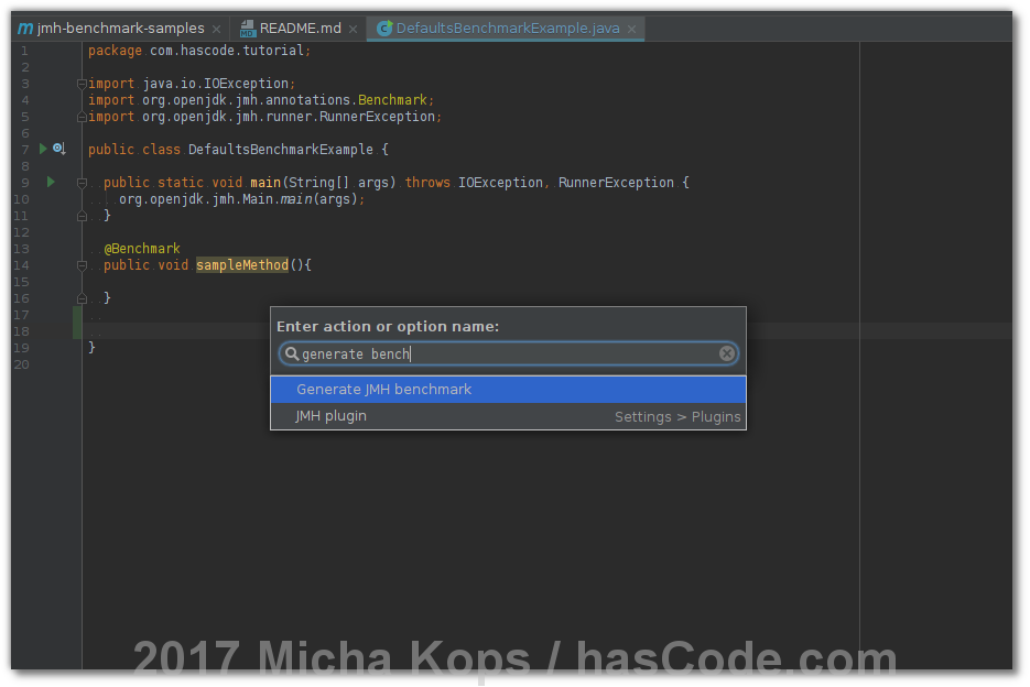 IntelliJ JMH Plugin - Actions